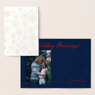 Gold Foil Snowflakes Holidays Greetings Photo #3 Foil Card