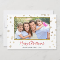 Gold Foil Snowflakes Merry Christmas Photo Card