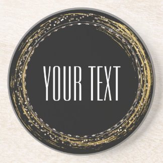 Gold Foil & Sparkle Glamour Circle Drink Coasters