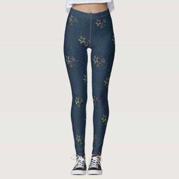 frankiesdaughter Gold Foil Star Jeggings Leggings