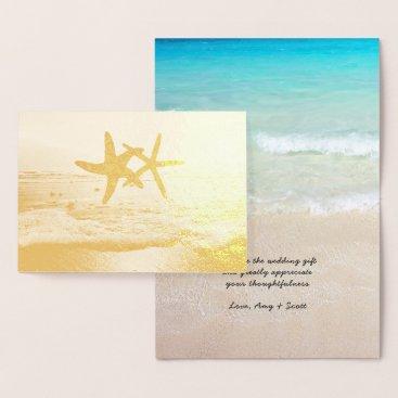 Beach Themed Gold Foil Starfish Beach Wedding Thank You Notes Foil Card