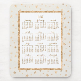 Gold Foil Stars Calendar 2017 Mouse Pads Cream