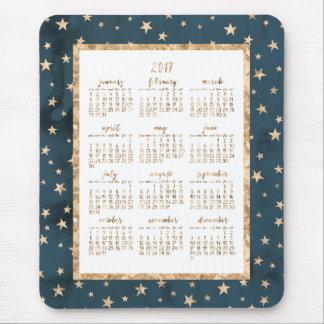 Gold Foil Stars Calendar 2017 Mouse Pads Midnight