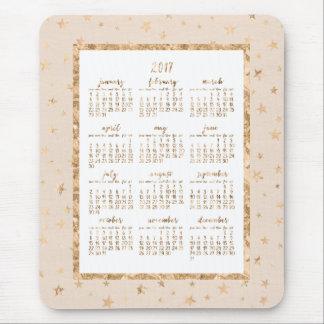 Gold Foil Stars Calendar 2017 Mouse Pads Peach
