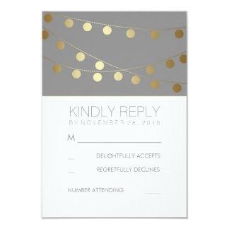 Gold Foil String Lights Modern Wedding RSVP Cards