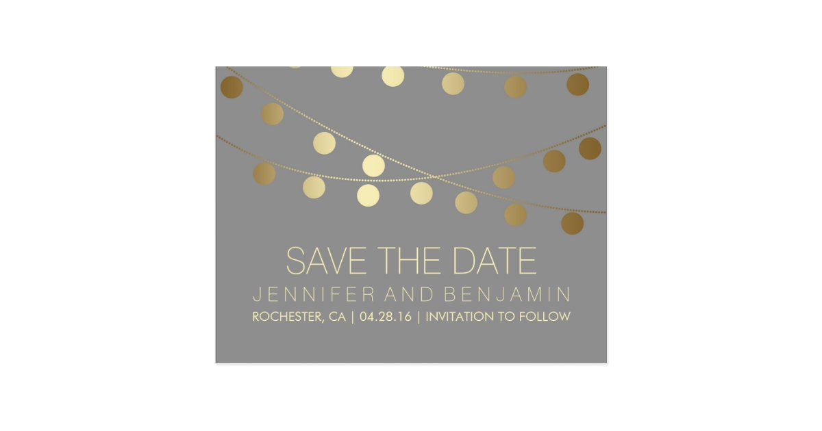 Gold Foil String of Lights Save the Date Postcard Zazzle