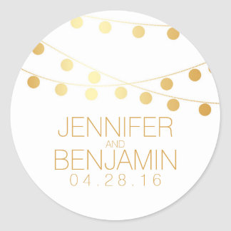 Gold Foil String of Lights Wedding Classic Round Sticker