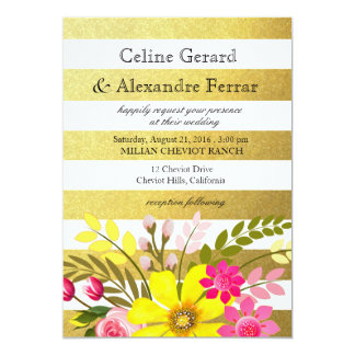 Gold Foil Striped Folklore Flowers Wedding yellow Card