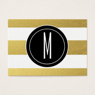GOLD FOIL STRIPES | BLACK MONOGRAM BUSINESS CARD