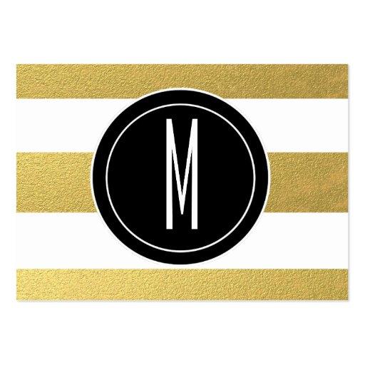 GOLD FOIL STRIPES | BLACK MONOGRAM BUSINESS CARDS