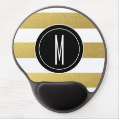 Gold Foil Stripes | Black Monogram Gel Mouse Pad at Zazzle