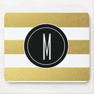 GOLD FOIL STRIPES | BLACK MONOGRAM MOUSE PAD