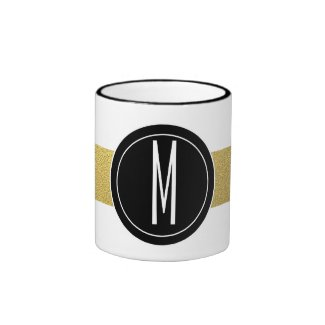 GOLD FOIL STRIPES | BLACK MONOGRAM RINGER COFFEE MUG