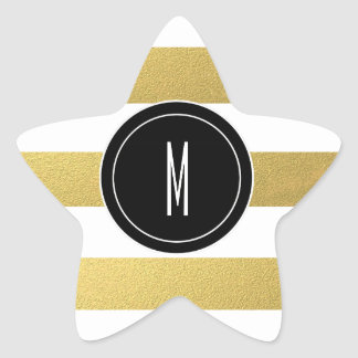 GOLD FOIL STRIPES | BLACK MONOGRAM STAR STICKER