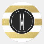 GOLD FOIL STRIPES | BLACK MONOGRAM CLASSIC ROUND STICKER