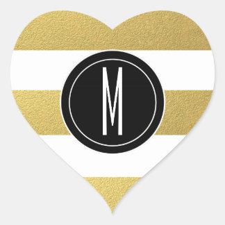 GOLD FOIL STRIPES | BLACK MONOGRAM HEART STICKER