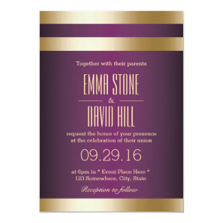 Gold Foil Stripes Classy Purple Wedding Card