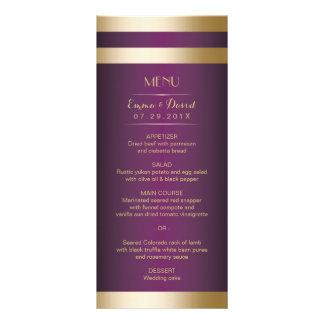Gold Foil Stripes Elegant Purple Wedding Menu