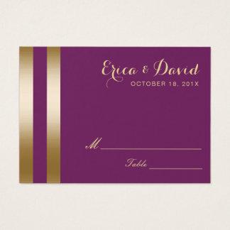 Gold Foil Stripes Elegant Purple Wedding Seating Business Card
