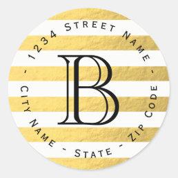 Gold Foil Stripes Monogram Return Address Label