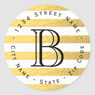 Gold Foil Stripes Monogram Return Address Label