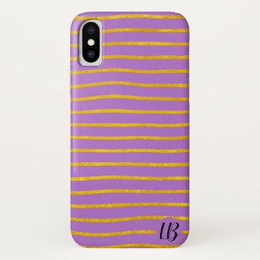 Gold Foil Stripes Personalized Phone Case