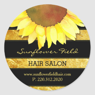 Gold Foil Sunflower Business Product Label
