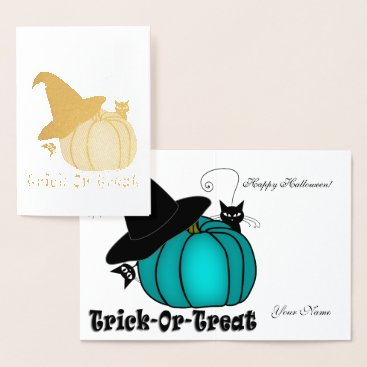 Halloween Themed Gold Foil Teal Pumpkin, Witch Hat, & Black Cats #2 Foil Card