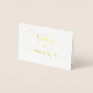 Gold Foil Thank You for Marrying Us Wedding Card