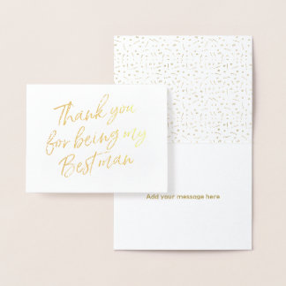 Gold Foil Thank you for my being my best man Foil Card