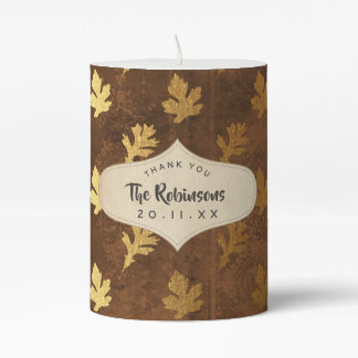 Gold Foil Thanksgiving Pillar Candle