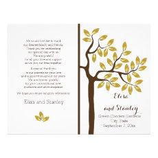 Gold foil tree modern folded wedding program 8.5