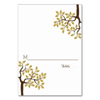 Gold foil tree modern wedding folded place card
