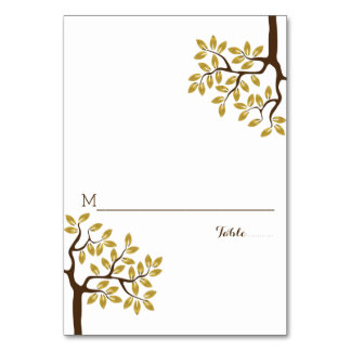 Gold foil tree modern wedding folded place card table card
