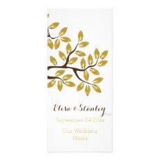 Gold foil tree modern wedding menu card customized rack card