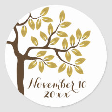 Gold foil tree modern wedding Save the Date Round Sticker