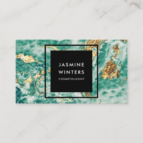 Gold foil turquoise marble watercolor chic elegant business card