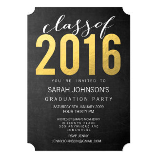 Gold Foil Typography Class of 2016 Party Invite