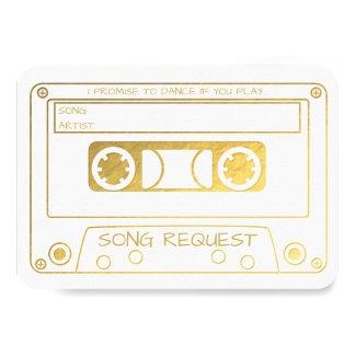 Gold Foil Vintage Cassette Tape Song Request Invitation