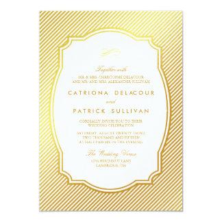 "Gold Foil Vintage Frame Striped Wedding Invitation 5"" X 7"" Invitation Card"