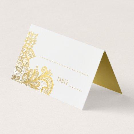 Gold Foil Vintage Lace Wedding Place Card