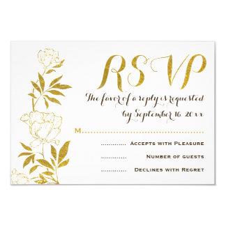 Gold foil vintage peonies floral wedding RSVP 3.5x5 Paper Invitation Card