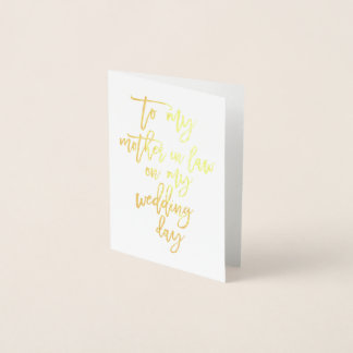 Gold Foil Wedding Mother In Law Thank You Card