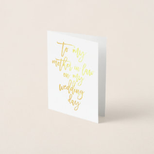 Gold Foil Wedding Mother In Law Thank You Card at Zazzle