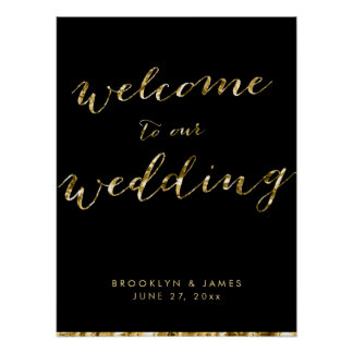 Gold Foil Wedding Reception Sign Poster 18x24