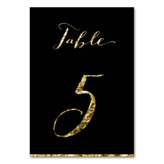 Gold Foil Wedding Table Numbers Black No. 5 Card