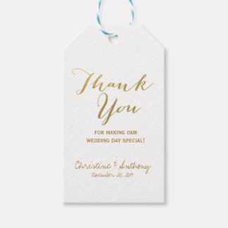 Gold Foil Wedding Thank You Favor Tags
