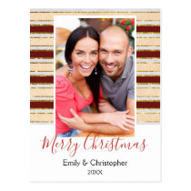 Gold Foil, White and Red Christmas Photo Card