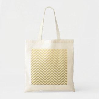 Gold Foil White Chevron Pattern Bag