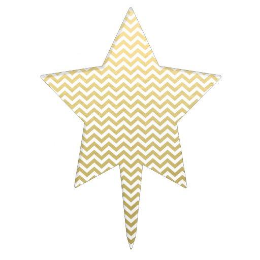 Gold Foil White Chevron Pattern Cake Picks